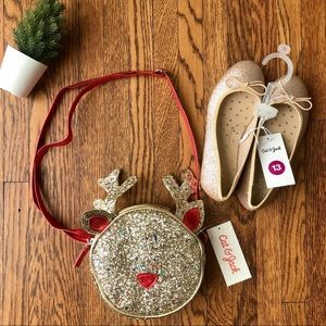 Gold Sparkly Flats & Rudolph Purse Holiday Bundle